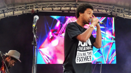 A young artist from 7E performs at the Flyer show in Birmingham