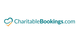 charitablebookings.com written in teal with a heart shape