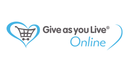 give as you live online text, with a blue heart inside a grey trolley