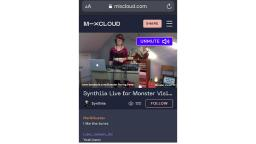 screenshot of mixcloud website of a person with headphones and a laptop holding a live stream concert