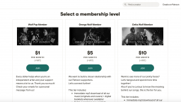 Screengrab of Patreon with, with examples of types of membership levels.