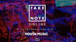 colourful DJ deck in background with Take Note and Youth Music logos