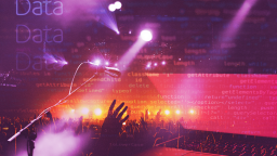 Abstract image of a live show with a large crowd, with a overlay of HTML code text, and Data written repeatedly in the top left corner.