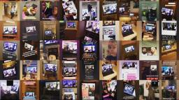 collage of photos with people watching a computer screen of a live gig