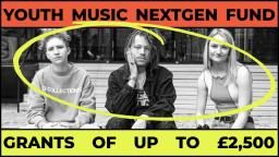 black and white photo of three young people sitting in a row with text above and below about the nextgen fund