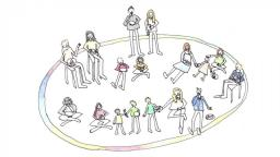 drawing of children and parents making music