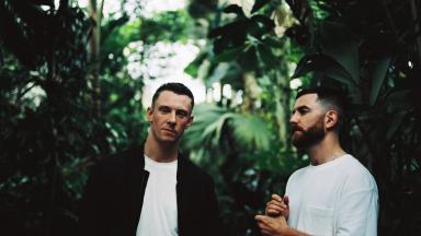 Two men surrounded by foliage