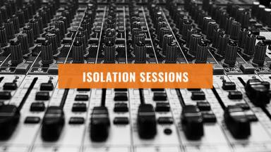 Sound mixing board with isolation sessions written on top