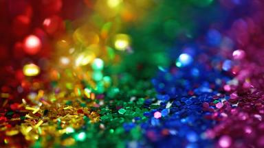Rainbow coloured glitter: Red, Yellow, Green, Blue and Purple