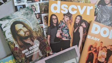 five or six magazine front covers featuring music artists