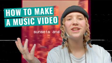 "Youtube Thumbnail of young person talking to camera with title, ""How to Make a Music Video"" and screenshot of their music video in the background."