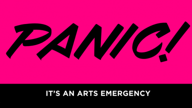 The word Panic! on a pink background with