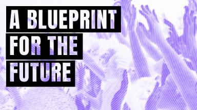 a blueprint for the future text on top of a purple and white image of a crowd