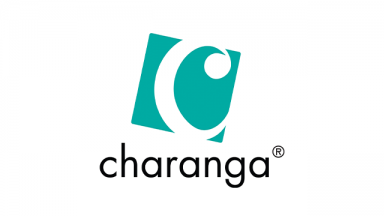 teal square with a C shape cut out of it, text charanga written underneath
