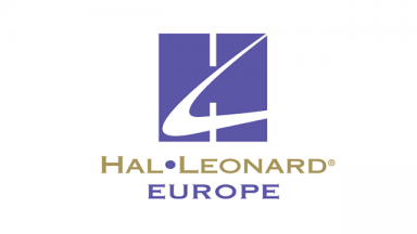 blue square with shape cut out of it, text hal leonard europe written beneath