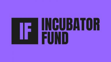 incubator fund written in black text on a purple background. also initials IF cutout in a black box.