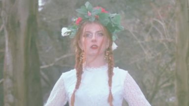 Image of Crysalice. She has red hair in two braids, is wearing a white lace dress and a floral head piece.